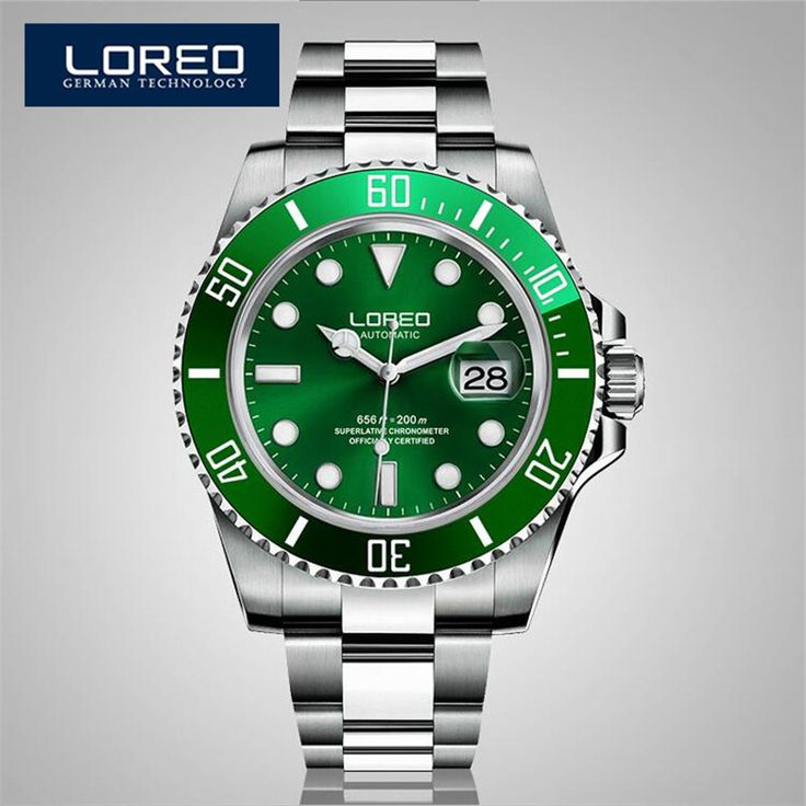 LOREO Sapphire Automatic Mechanical Chronograph Watch Men Stainless Steel 200m Waterproof Diver Watch Relogio Masculine AB2033