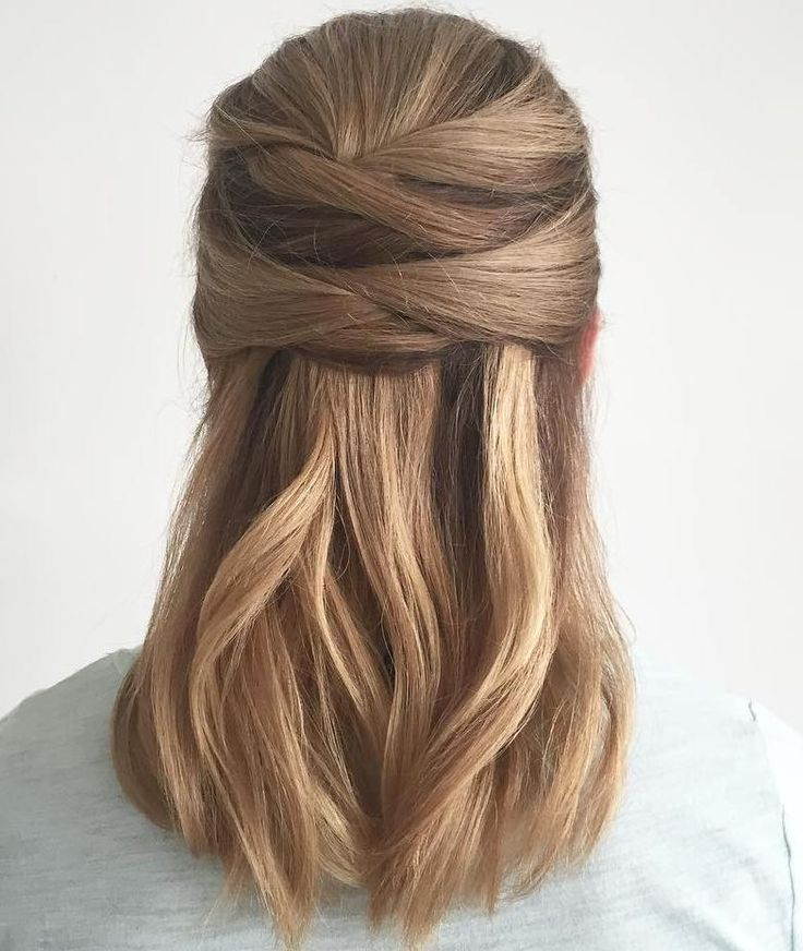 Wrapped Half Updo Chic Everyday Hairstyles For Straight Short Hair Hair Styles Straight Hairstyles Straight Hair Updo