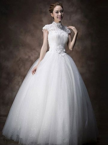 Selected High Neck Beads Petal Embellishment Vintage Wedding Dresses