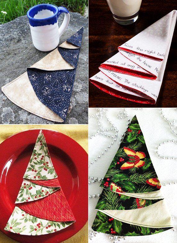 Weihnachtsservietten Falten. Fold Napkin Into Christmas Tree