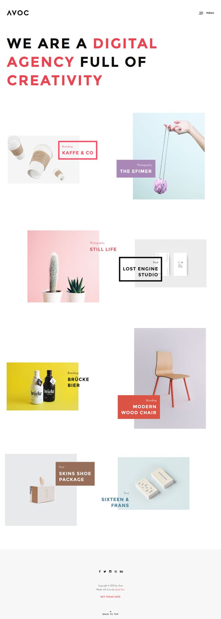 Avoc - Minimal Portfolio Theme, creative wordpress design