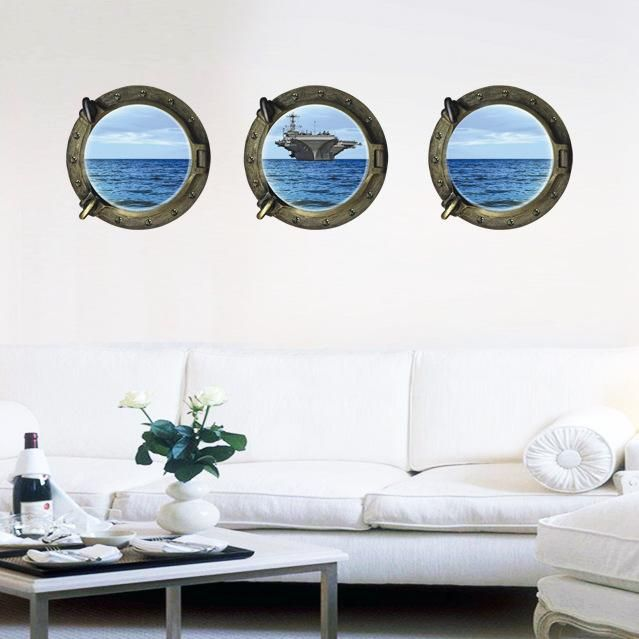 [Visit to Buy] A Set Of 3 New Creative Fashion 3D Dimensional Ocean Aircraft Carrier Home Decoration Wall Stickers Living Room Sofa Wallpaper #Advertisement
