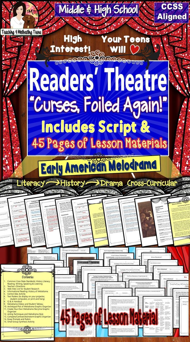 "Reader's Theater + Lessons ""Curses, Foiled Again"" Melodrama for middle and high school. Includes original script with 40 pages of lesson materials. With this purchase, you will receive BOTH the original PLAY and lesson materials for a cross-curricular history and ELA experience. Students analyze a cultural experience reflected through this short work of literature (RL6)."