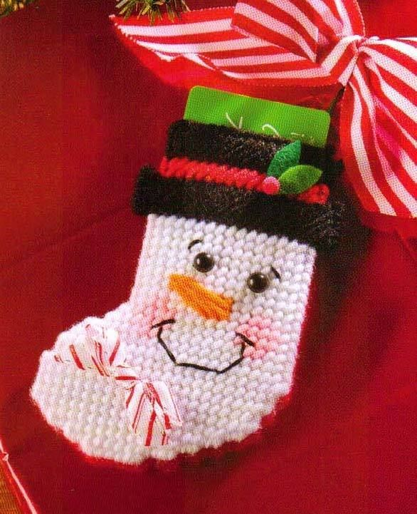 SMILING SNOWMAN STOCKING CHRISTMAS PLASTIC CANVAS PATTERN INSTRUCTIONS ONLY  #PATTERNFROMABOOK