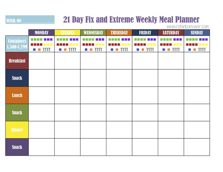Meal Plan Sheets Fix1500 | 21 Day Fix | Pinterest | 21 day ...