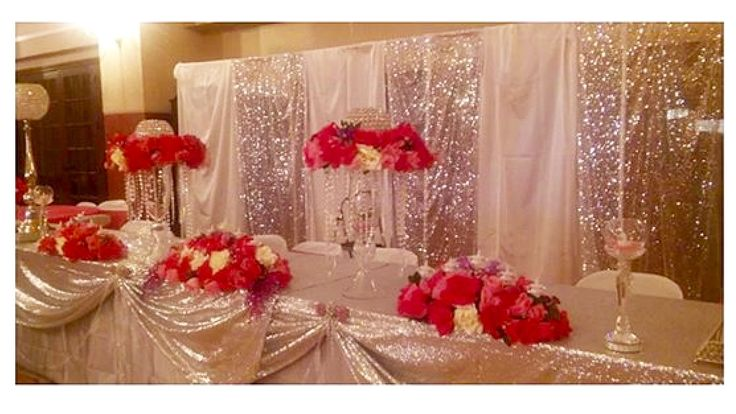 Quinceanera Chandelier Theme Acrylic Main Table Sweetheart Table Sequined Silver Tablecloths