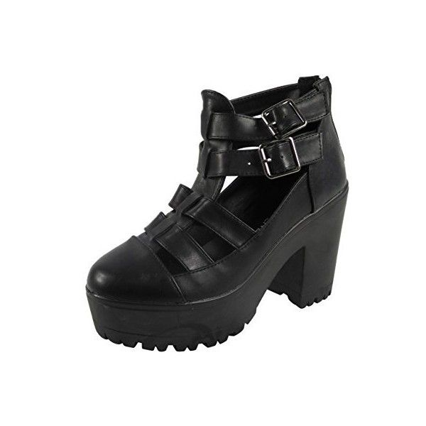 Womens Ladies Black Cleated Sole Platform High Heel Shoes Ankle Boots... ($13) ❤ liked on Polyvore featuring shoes, boots and ankle booties