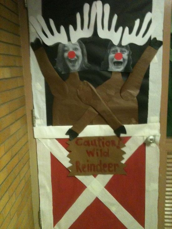 Idea for the Christmas Door Decorating Contest at school                                                                                                                                                                                 More