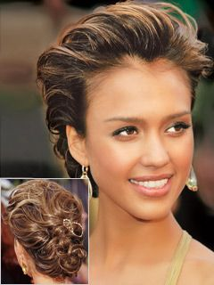 Modern take on the classic french twist- Jessica Alba on the red