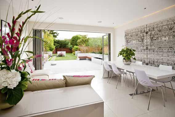 Modern white tiling links inside and outside