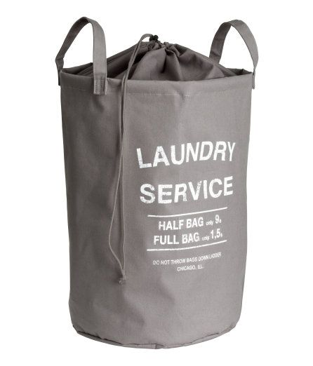 Check this out! Laundry bag in unbleached cotton twill with a printed text design. Top section in lighter fabric with a drawstring closure. Two handles. Plastic coating inside. Size 13 1/2 x 20 1/2 in. - Visit hm.com to see more.