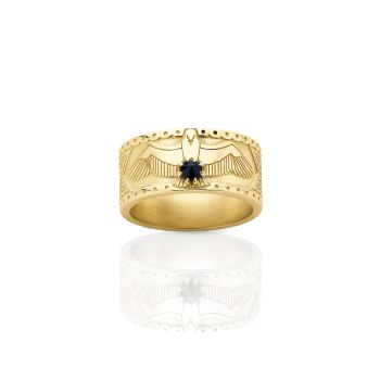 Eagle Band 18ct Yellow Gold midnight sapphire