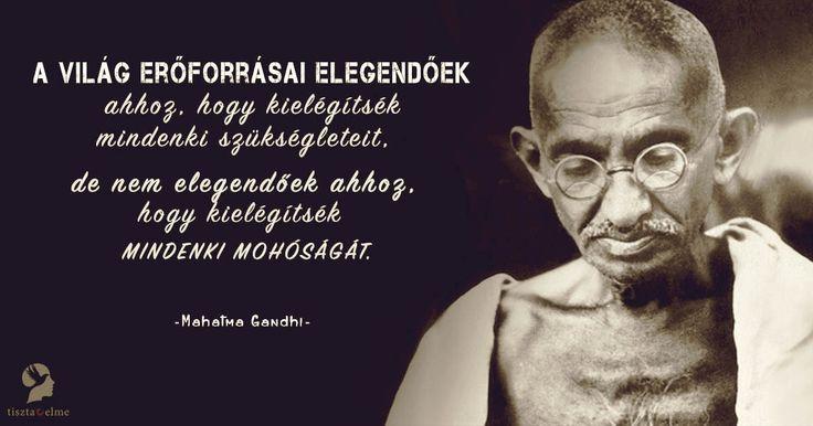 A világ erőforrásai elegendőek ahhoz, hogy kielégítsék mindenki szükségleteit, de nem elegendőek ahhoz, hogy kielégítsék mindenki mohóságát. Mahatma Gandhi
