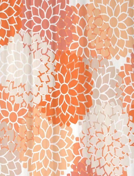 Shower Curtain Peach Paradise Floral Custom By SwirledPeasDesigns