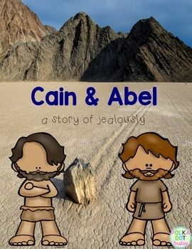 Cain and Abel: a story of jealously. This packet is a sample of my Bible packets.  It includes:Page 1: CoverPage 2: Story background, key points to makePage 3-4: Posters of Cain and AbelPage 5-8: Bubble Map with Answer KeyPage 9: CreditsIn my classroom, I reduce the size of the bubble maps for the student's Bible interactive notebook.