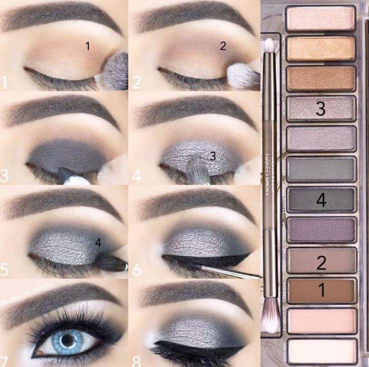 maquillage smoky eyes fete yeux bleus fards gris argent #makeup