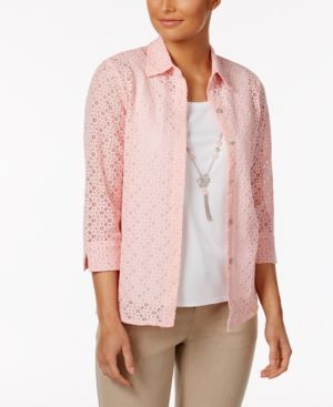 Alfred Dunner Rose Hill Layered-Look Top - Pink 18