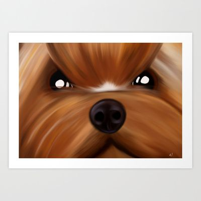 Yorkie face Art Print by Mario Laliberte - $22.88