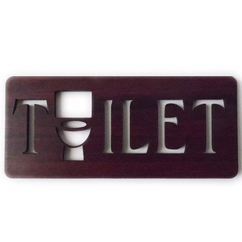 Wooden TOILET Missing 'O' Loo Door Sign - Mahogany Wood Grain Effect