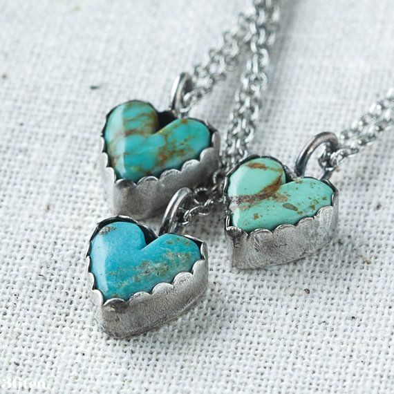 Turquoise Heart Necklace, sterling silver heart necklace, southwestern necklace by Kristen Northcutt