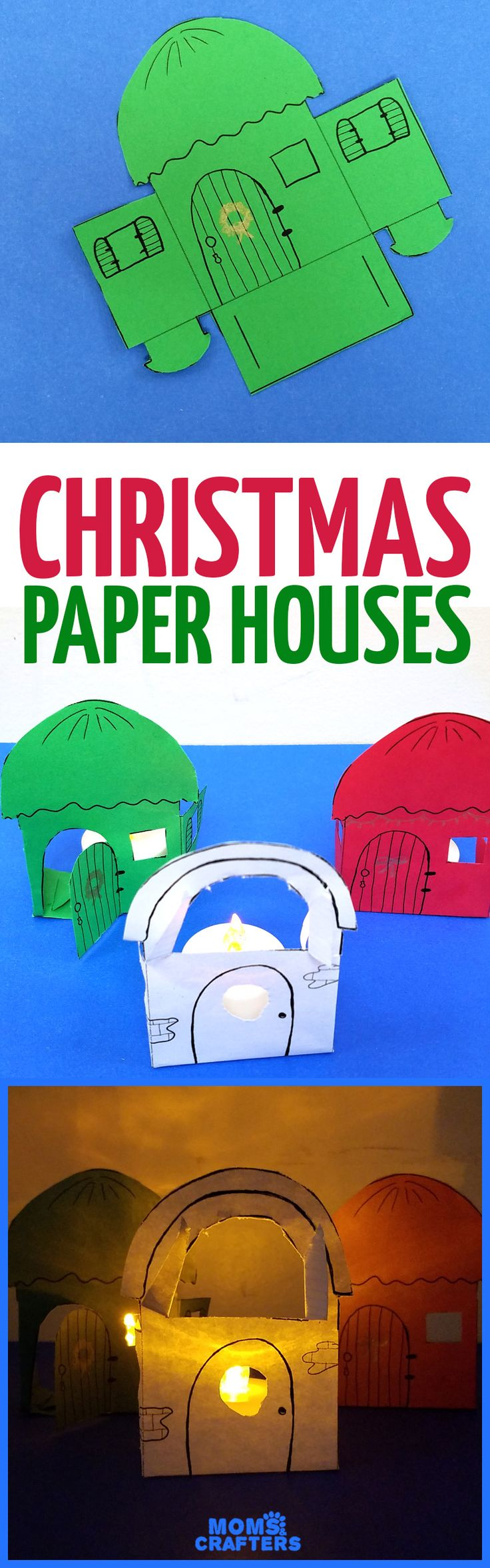 1670 best christmas crafts for kids images on pinterest make these super easy christmas paper houses a free printable and a cool paper craft jeuxipadfo Choice Image