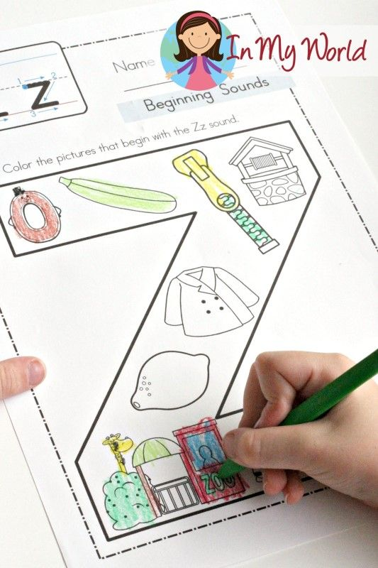 Preschool Letter Z FREE beginning sounds coloring page