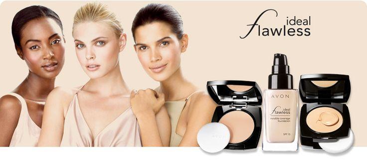 """AVON IDEAL FLAWLESS FOUNDATIONS.  AVON präsentiert das neue IDEAL FLAWLESS Make-up für jede Frau:  Bahnbrechende Technologie für die perfekte Abdeckung.  Mit neuentwickelten Wirkformeln, die den Hauttyp jeder Frau unterstreichen, nicht verstecken, und so ihre natürliche Schönheit betonen.  """"InvisiBlend"""" - Technologie. Exklusive Wirkformel mit farbangleichenden Pigmenten, die durch ihre Lichtdurchlässigkeit für eine vollständige und doch unsichtbare Abdeckung von Unebenheiten sorgt."""