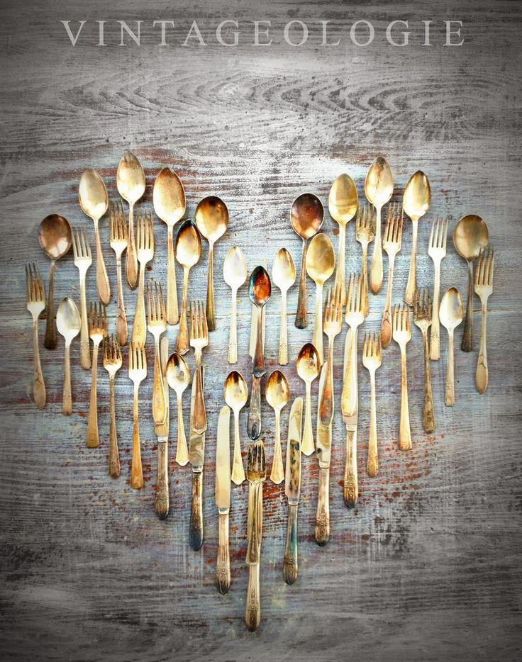 V I N T A G E O L O G I E #heart #valentinesday #silver Dining room art