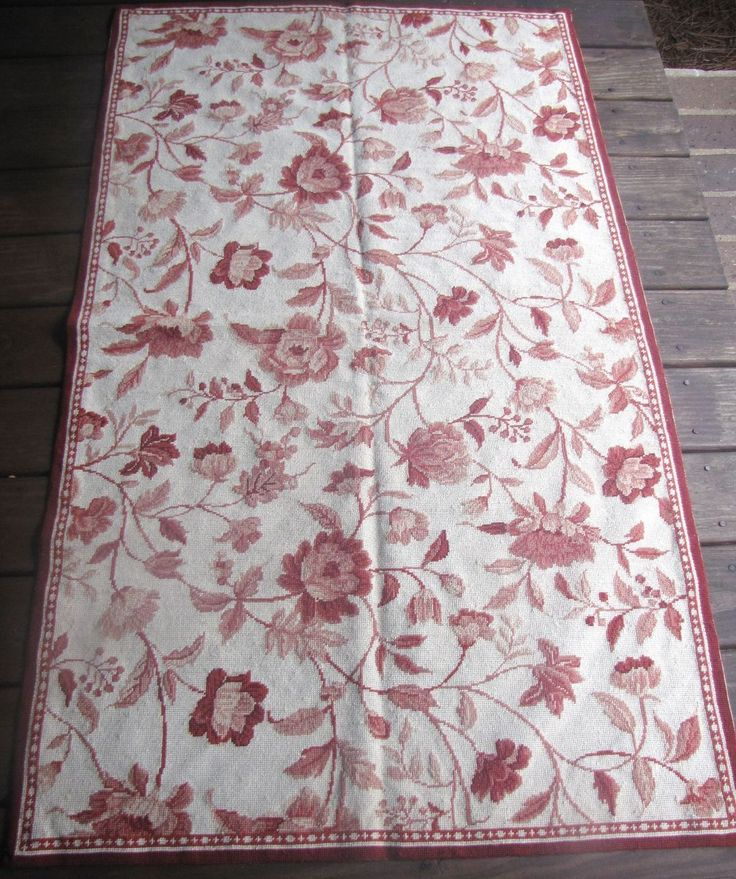 """Beautiful Hand Stitched Needlepoint Wool Area Rug 58"""" by 34 """""""