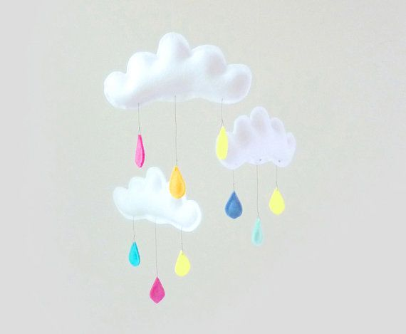 Rain Cloud Mobile for Nursery RAINBOW STAR with от leptitpapillon