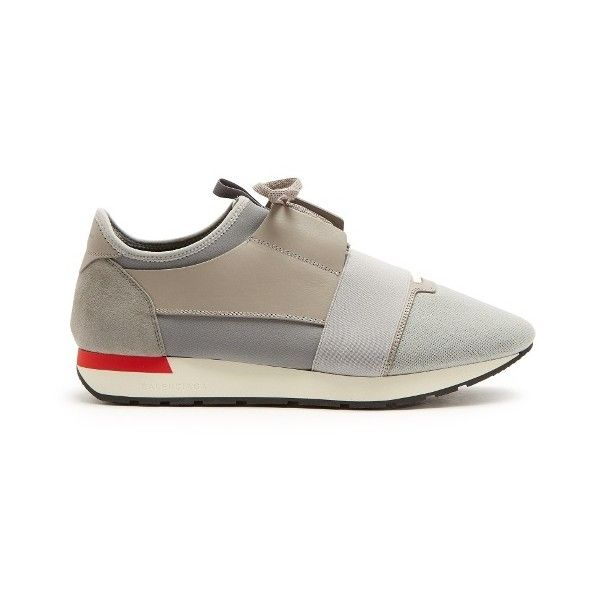 Balenciaga Race Runner low-top panelled trainers (€565) ❤ liked on Polyvore featuring men's fashion, men's shoes, men's sneakers, grey multi, shoes, mens low profile sneakers, balenciaga mens shoes, mens grey sneakers, mens toe cap shoes and mens gray shoes
