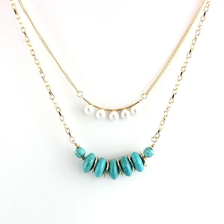 Turquoise Pendant Necklace Multilayer Women Natural Stone Necklaces Pendants Bohemian Long Gold Boho Jewelry Choker Sne160070