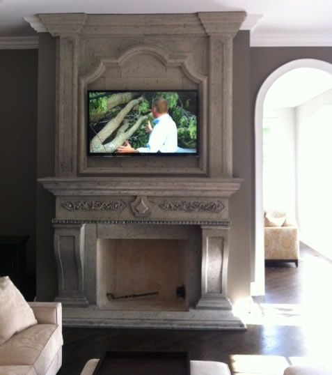23 best painted fireplaces images on pinterest for Large stone fireplace