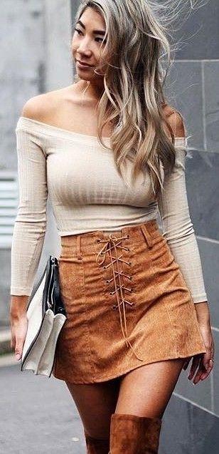 Beige Bardot Knit Top + Camels Suede Skirt                                                                             Source