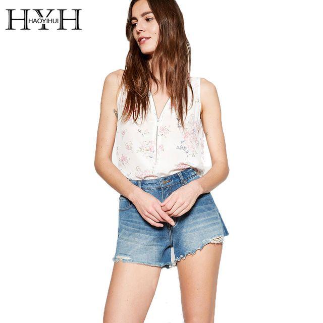 HYH HAOYIHUI Flower Printed Zipper Front Blouse Shirt Loose V Neck Sleeveless Blusas Casual Off Shoulder Cool Women Tops