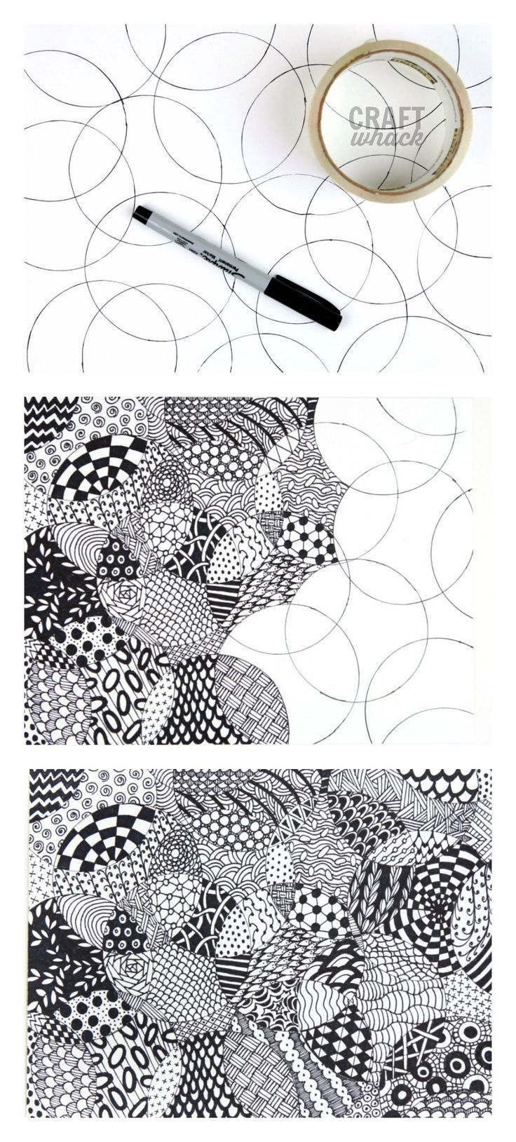 A very simple Zentangle drawing project – all you need is something round, paper
