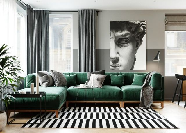 Un Appartement Bleu Et Vert En Russie Planete Deco A Homes World Green Sofa Living Room Green Apartment Living Room Decor Modern