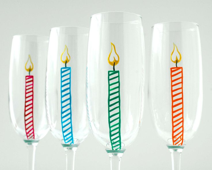 Happy Birthday Candle Champagne Flutes--Set of 4 for $35.00 by Mary Elizabeth Arts Happy Birthday America!