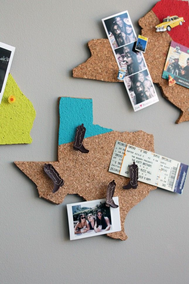 Show Hometown Pride with DIY State-Shaped Memo Boards | Brit + Co. I'm thinking one for each girl in the room. Oregon, CA and Macedonia.