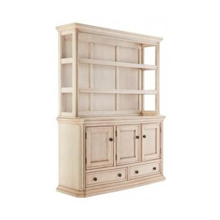 Ashley D6936061 Demarios Dining Room Buffet with Hutch Oak Veneers Heavy Mouldings and Shaped Fron Antique Brass - Walmart.com