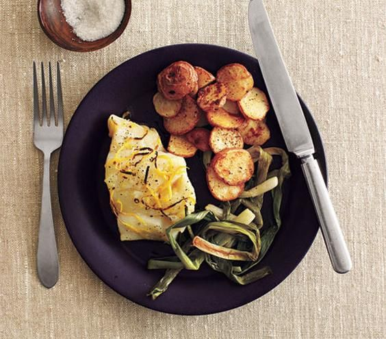 Roasted Cod and Scallions With Spiced Potatoes | Need some quick dinner ideas? Try one of these speedy recipes that take just 15 minutes or less of hands-on work.