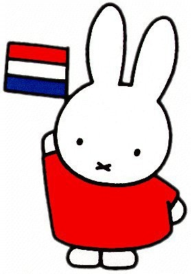 Miffy the white cartoon bunny holds up the Netherlands flag