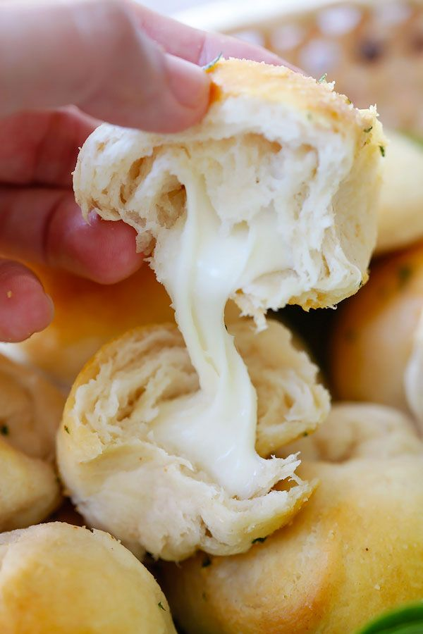 Garlic Herb Cheese Bombs - amazing cheese bomb biscuits loaded with Mozzarella cheese and topped with garlic herb butter | rasamalaysia.com