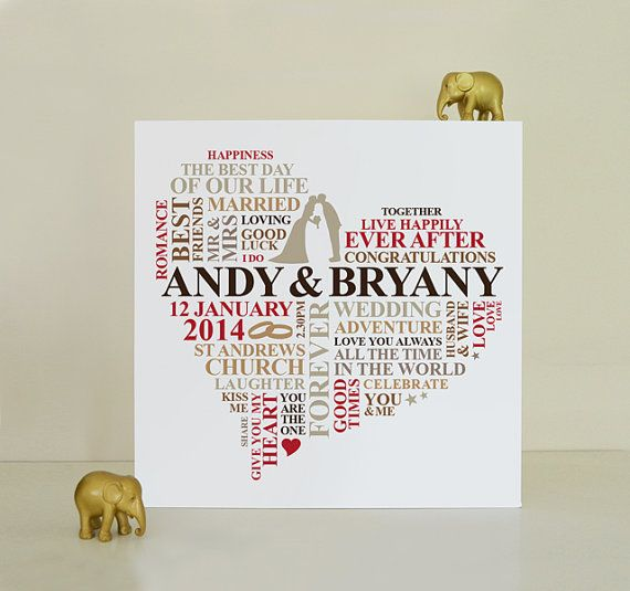 Canvas Wedding Print Gift Personalised Word Art Marriage Present Unique Typography