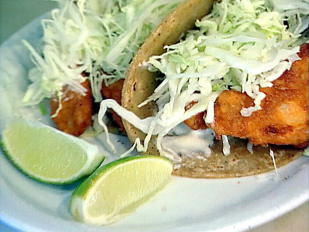 Baja fish tacos ok so i just used frozen battered fish for Fish taco white sauce