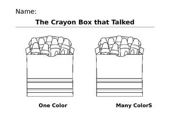 Teach about diversity with The Crayon Box that talked! Great supplemental worksheet for after reading the book or watching the read aloud online!