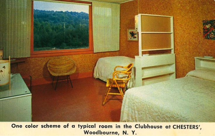 One color scheme of a typical room in the Clubhouse at CHESTERS', Woodbourne, N.Y.