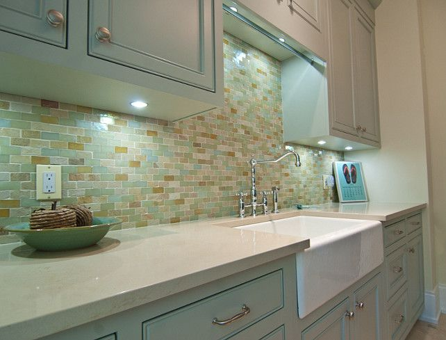Beautiful Laundry Room - love the faucet, sink, backsplash, and cabinet color... lots more pictures in the post