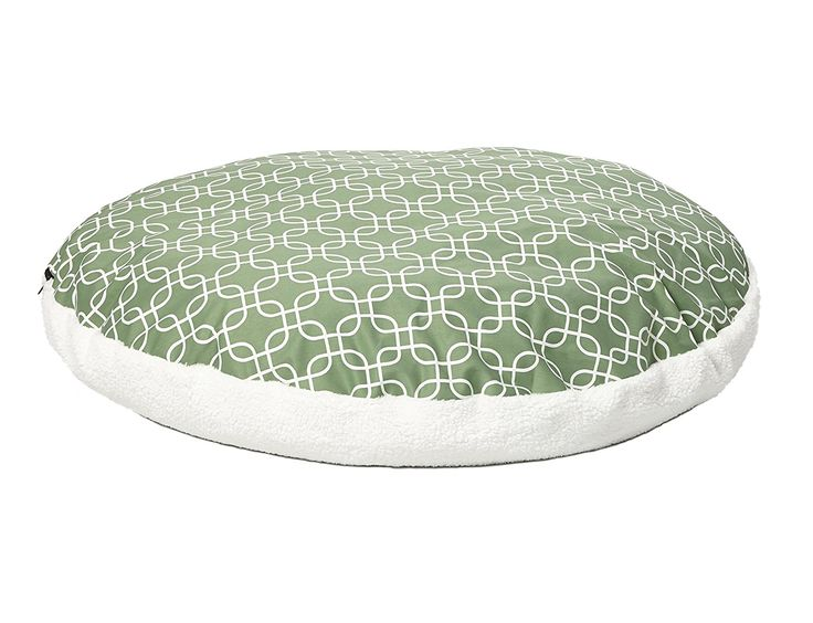Midwest Homes for Pets PF0048T-FGR Over-Stuffed Dog Bed , Large, 48 ' Round, Large Dog Breed, Green Geometric Pattern * Check out the image by visiting the link. (This is an affiliate link and I receive a commission for the sales) #DogLovers