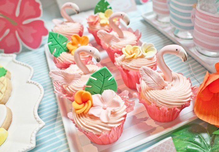 Flamingo cupcakes from Spring Flamingo Birthday Party at Kara's Party Ideas. See more at karaspartyideas.com!